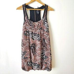GUESS Dress Mini Animal Print Brown Black Size S
